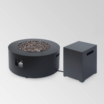 """Wellington Round 32"""" Iron Gas Fire Pit with Tank Holder - Christopher Knight Home"""
