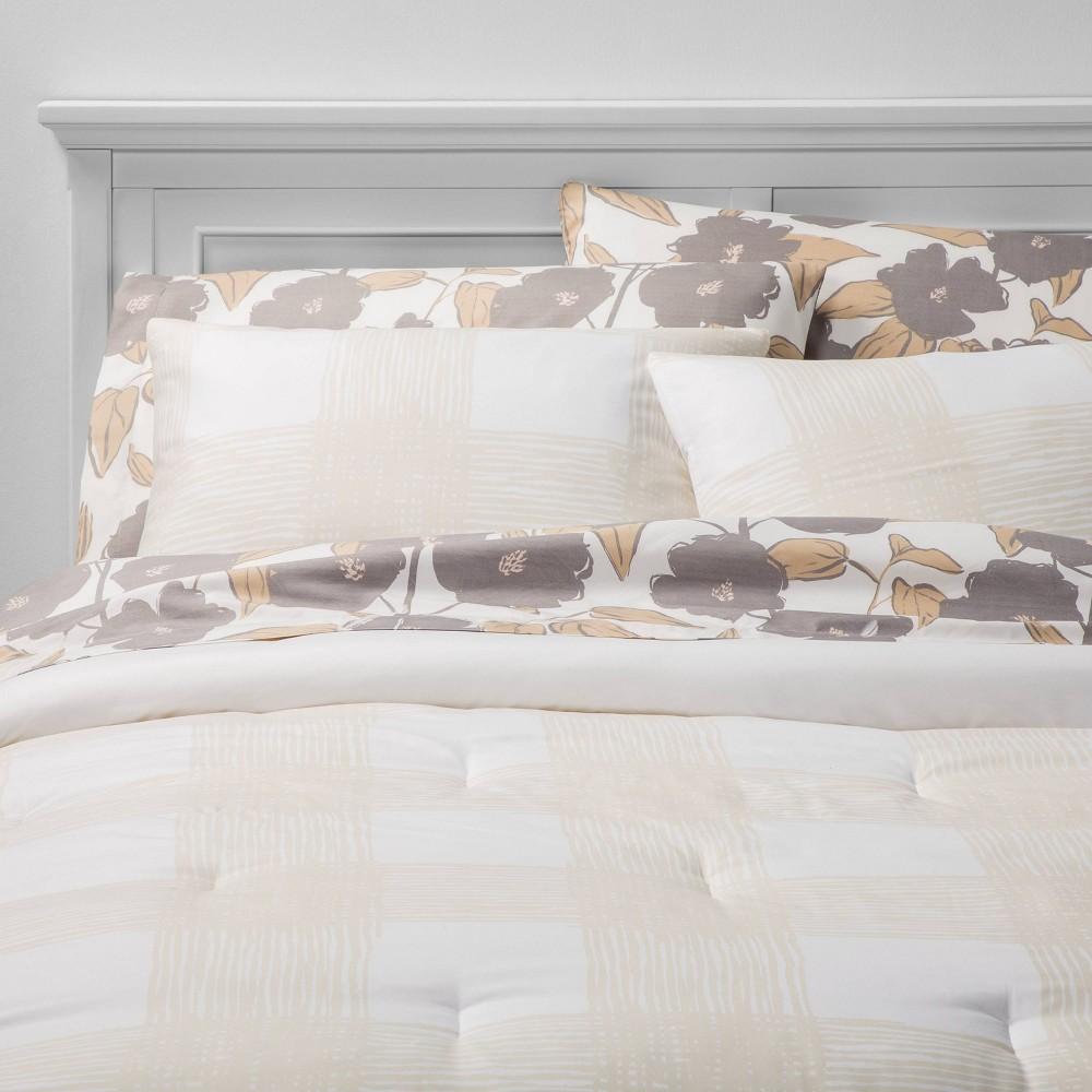 Twin/Twin XL 5pc Printed Pattern Bedding Set Tan Check - Room Essentials