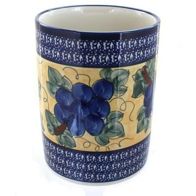 Blue Rose Polish Pottery Grapes Utensil Jar with Cobalt Trim