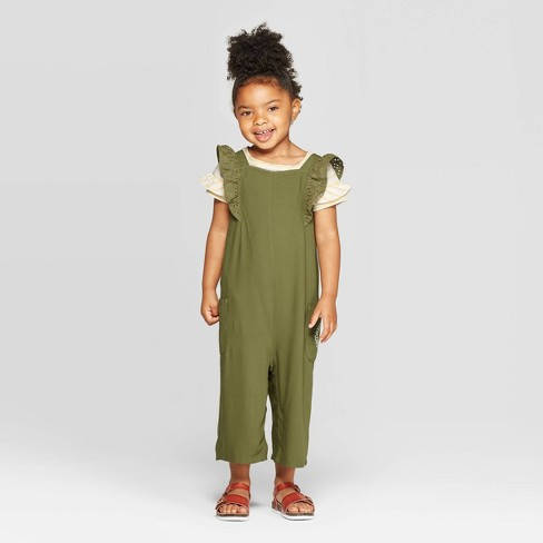 Toddler Girls' Ruffle Sleeve Top and Overall Set - Cat & Jack™ Olive/Yellow - image 1 of 3