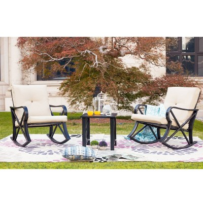 3pc Rocking Chair Patio Seating Set - Patio Festival