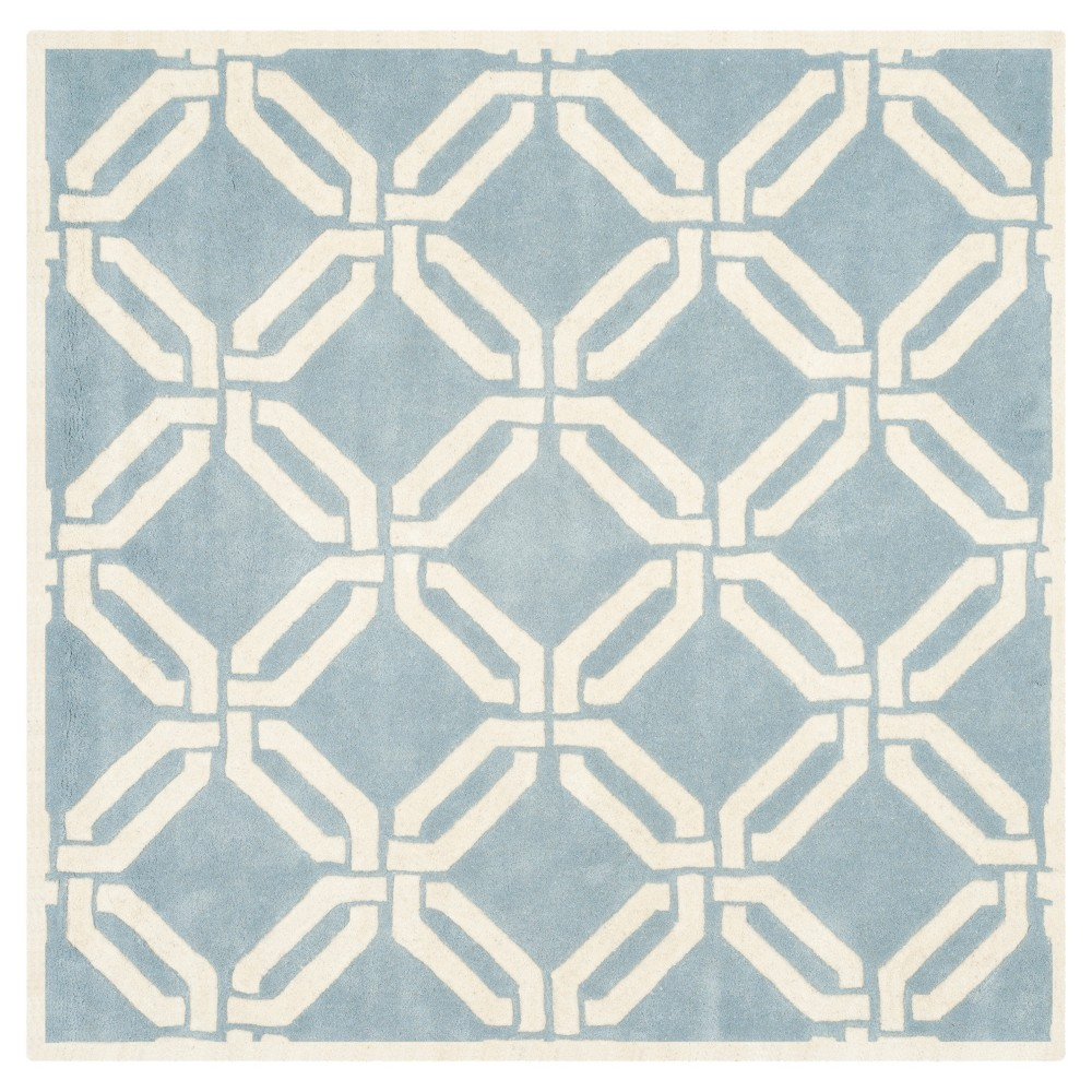 Blue/Ivory Abstract Tufted Square Area Rug - (5'x5') - Safavieh