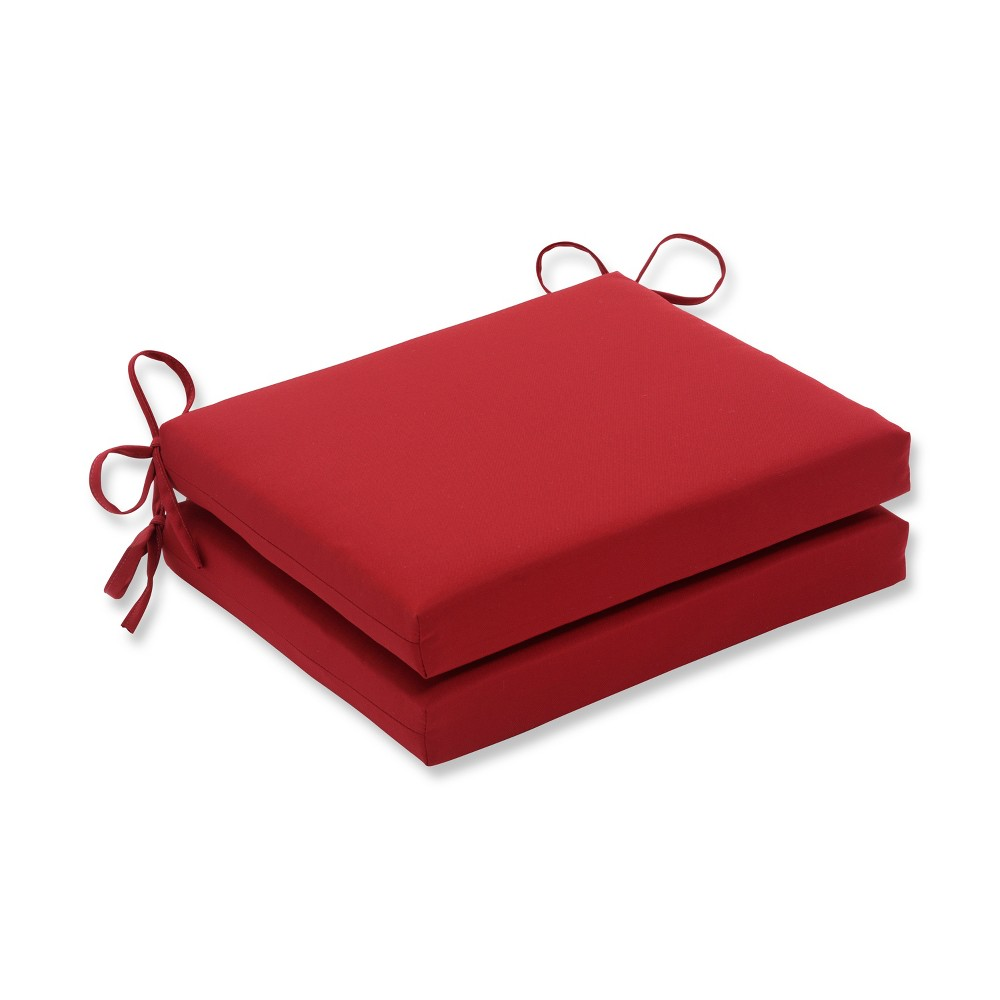 Image of 2-Piece Outdoor Seat Pad/Dining/Bistro Chair Cushion Set - Red