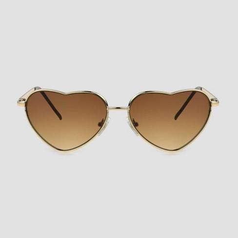 Girls' Heart Shape Aviator Sunglasses - Cat & Jack™ Gold - image 1 of 3