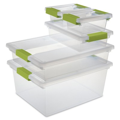 Sterilite Set of Five Clip Boxes Clear with Green Latches