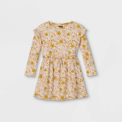 Toddler Girls' Ribbed Floral Long Sleeve Dress - art class™ Pink/Gold 18M