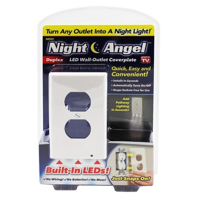 As Seen on TV® Night Angel LED Wall-Outlet Coverplate with Built-In LEDs