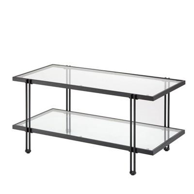 Folio Metal and Glass Coffee Table Black - Lifestorey