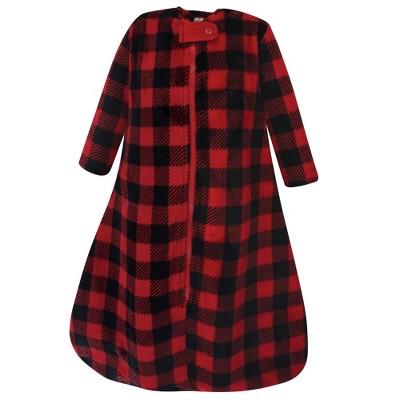 Hudson Baby Infant Plush Sleeping Bag, Sack, Blanket, Buffalo Plaid Long-Sleeve