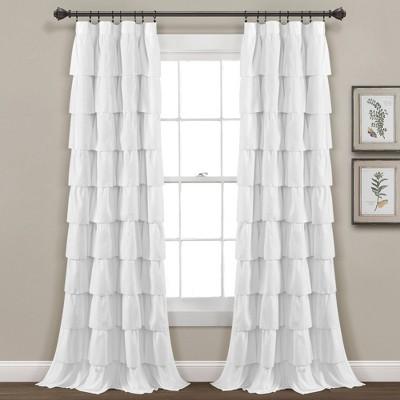 """84""""x50"""" Ruffle Window Curtain White - Lush Décor"""