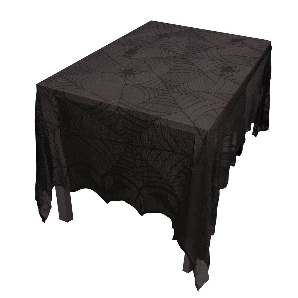 "Image of ""48"""" x 96"""" Halloween Lace Decor Tablecloth Black"""