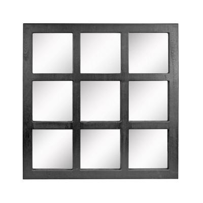 "23.5"" x 23.5"" Rustic 9-Panel Window pane Decorative Wall Mirror Black - Stonebriar Collection"