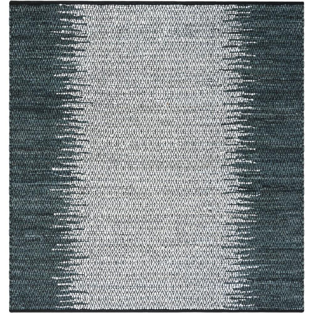 6'X6' Solid Woven Square Area Rug Gray/Cream - Safavieh