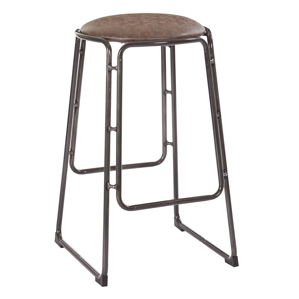 Fresno 26 Stool In Vintage Mocha Faux Leather - Osp Designs