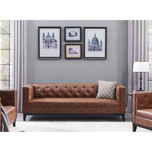 Cadman 3 Seat Faux Leather Sofa Camel Brown - Manhattan Comfort : Target