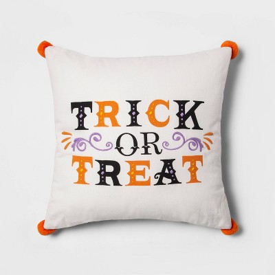 'Trick or Treat' Embroidered Reversible Square Throw Pillow White - Hyde & EEK! Boutique™