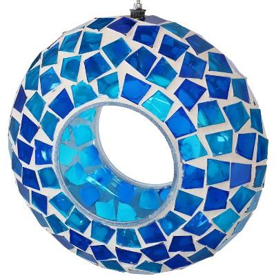 "Sunnydaze Decor Mosaic Glass Fly-Through Bird Feeder - Blue - 6"""