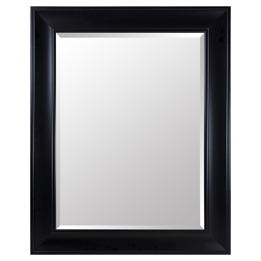 Image of Rectangle Beveled Decorative Wall Mirror with Wide Profile Black - Gallery Solutions