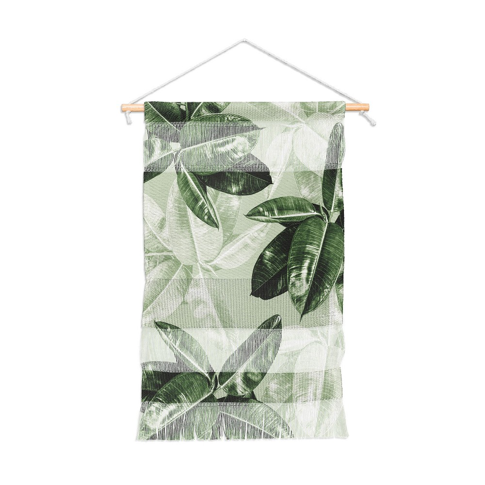 "Image of ""11""""x15.5"""" Magda Opoka Green Tropical Leaves Wall Hanging Portrait Green - Deny Designs"""