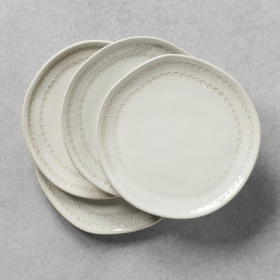 4pk Dessert Plate with Engraved Floral Border White - Hearth & Hand™ with Magnolia