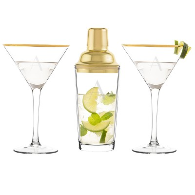 Cathy's Concepts Monogram 3pc Cocktail Shaker Set Gold A