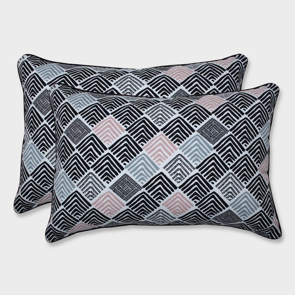 2pk Oversize Belk Shadow Rectangular Throw Pillows Black - Pillow Perfect