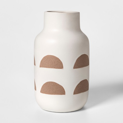 """11.8' x 6.6"""" Earthenware Half Circle Vase White/Brown - Project 62™ - image 1 of 4"""