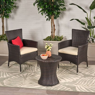 Malta 3pc All-Weather Wicker Patio Chair Set - Brown - Christopher Knight Home