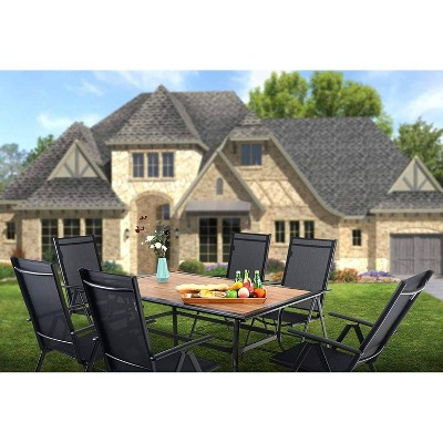 7pc Patio Dining Set with Rectangular Faux Wood Table with Umbrella Hole & Folding Reclining Chairs - Captiva Designs