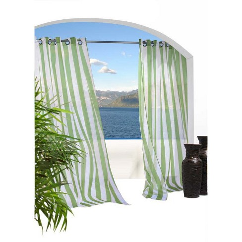 Outdoor Decor Escaped Striped Voile Grommet Top Window Panel Green - image 1 of 1