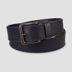 Men's 38mm Leather Jean Belt with Stitch Design and Single Prong Buckle - Goodfellow & Co™ Black