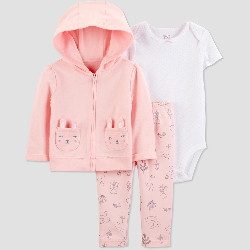 Baby Girls' 3pc Bunny Cardigan Set -Just One You made by carter's Peach/White 6M, Pink