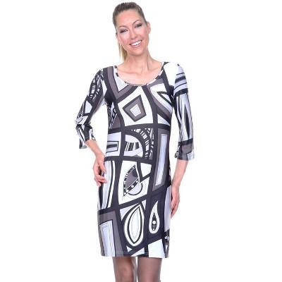 Women's 3/4 Bell Sleeve Genevieve Dress - White Mark