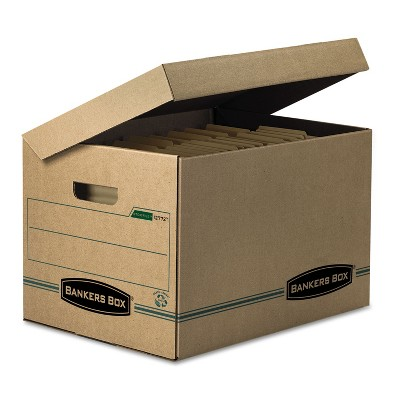 Bankers Box STOR/FILE Storage Box Letter/Legal Attached Lid Kraft/Green 12/Carton 12772
