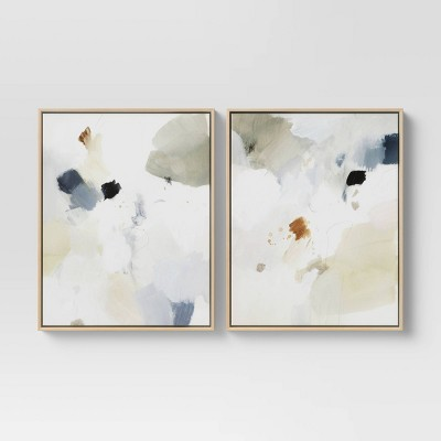 "(Set of 2)16"" x 20"" Abstract Watercolor Framed Wall Art Blue - Project 62™"