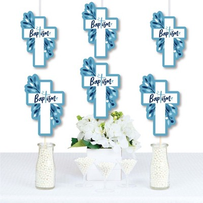 8 Count Baptism Party Thank You Cards Big Dot of Happiness Little Miracle Boy Blue /& Gray Cross