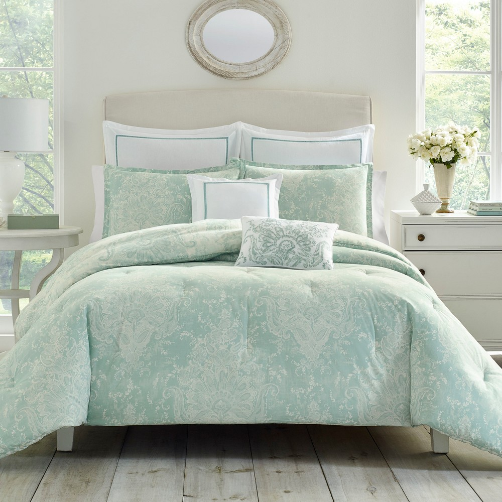 Image of 7pc Full/Queen Maddox Comforter Set Blue - Laura Ashley