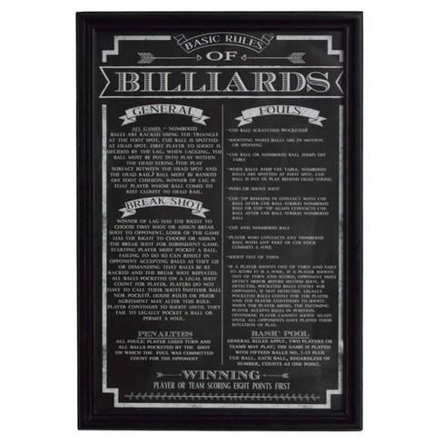 Hathaway Billiard Game Rules Wall Art - Black - image 1 of 3