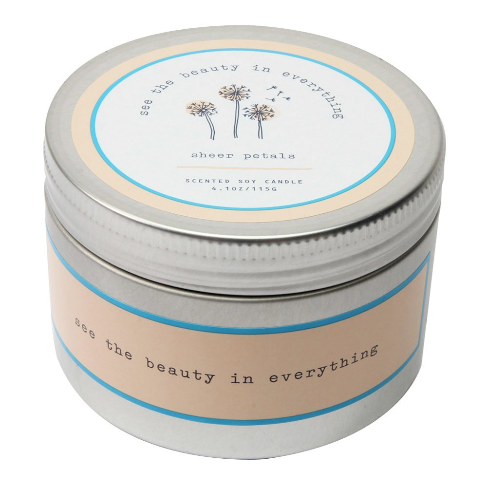 Image of 4.1oz Lidded Tin Candle Sheer Petals - Happy Place, Blue