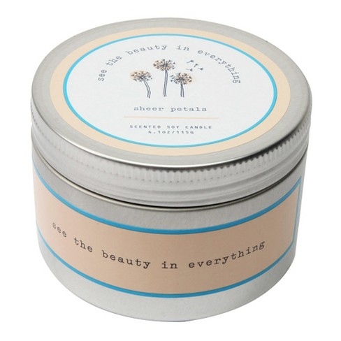 4.1oz Lidded Tin Candle Sheer Petals - Happy Place - image 1 of 2