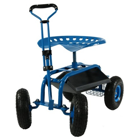 rolling garden cart with extendable steering handle swivel seat and basket blue sunnydaze decor - Garden Cart With Seat