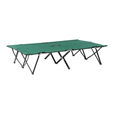 Outsunny Portable Two Person Double Folding Camping Cot for Adults