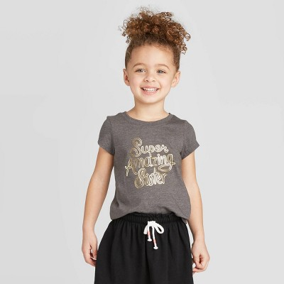 Toddler Girls' Short Sleeve 'Super Amazing Sister' Graphic T-Shirt - Cat & Jack™ Charcoal 4T