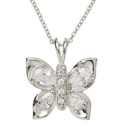 Silver Plated Butterfly Pendant Necklace - image 1 of 2