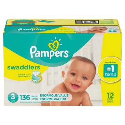 Pampers Swaddlers Disposable Diapers Enormous Pack - Size 3 (136ct )