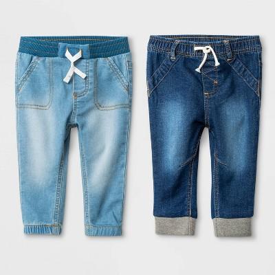 Baby Boys' 2pk Knit Jeans Medium Wash - Cat & Jack™ Blue 3-6M