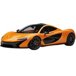 McLaren P1 Papaya Spark Orange and Carbon Fiber 1/18 Model Car by Autoart