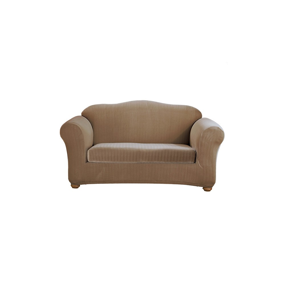 Amazing Stretch Pinstripe Loveseat Slipcover Taupe Brown Sure Fit Camellatalisay Diy Chair Ideas Camellatalisaycom