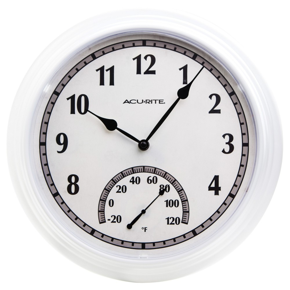 Image of 14 Outdoor/Indoor Wall Clock With Thermometer Gloss White Finish - Acurite