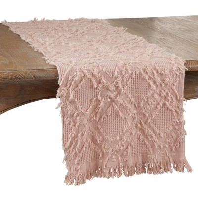 """72"""" x 16"""" Cotton Waffle Weave Fringed Table Runner Pink - Saro Lifestyle"""